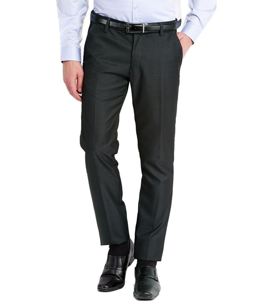Black Coffee Black Regular Fit Formal Trouser