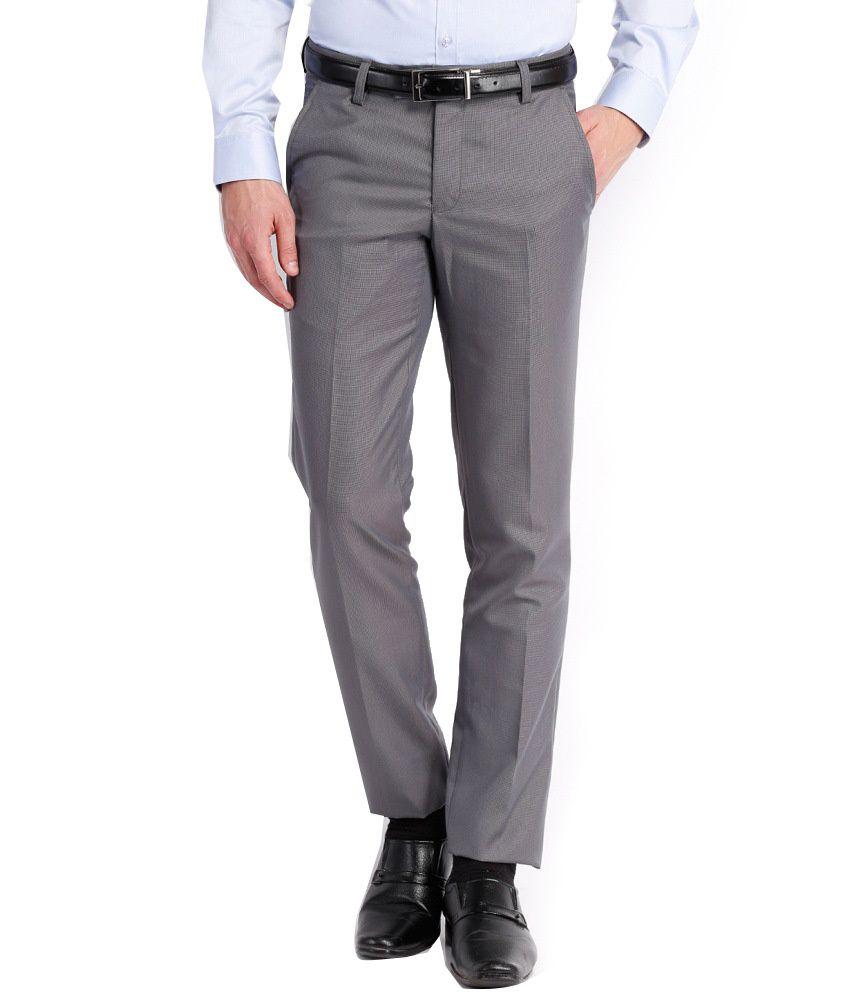 Black Coffee Gray Regular Fit Formal Trouser