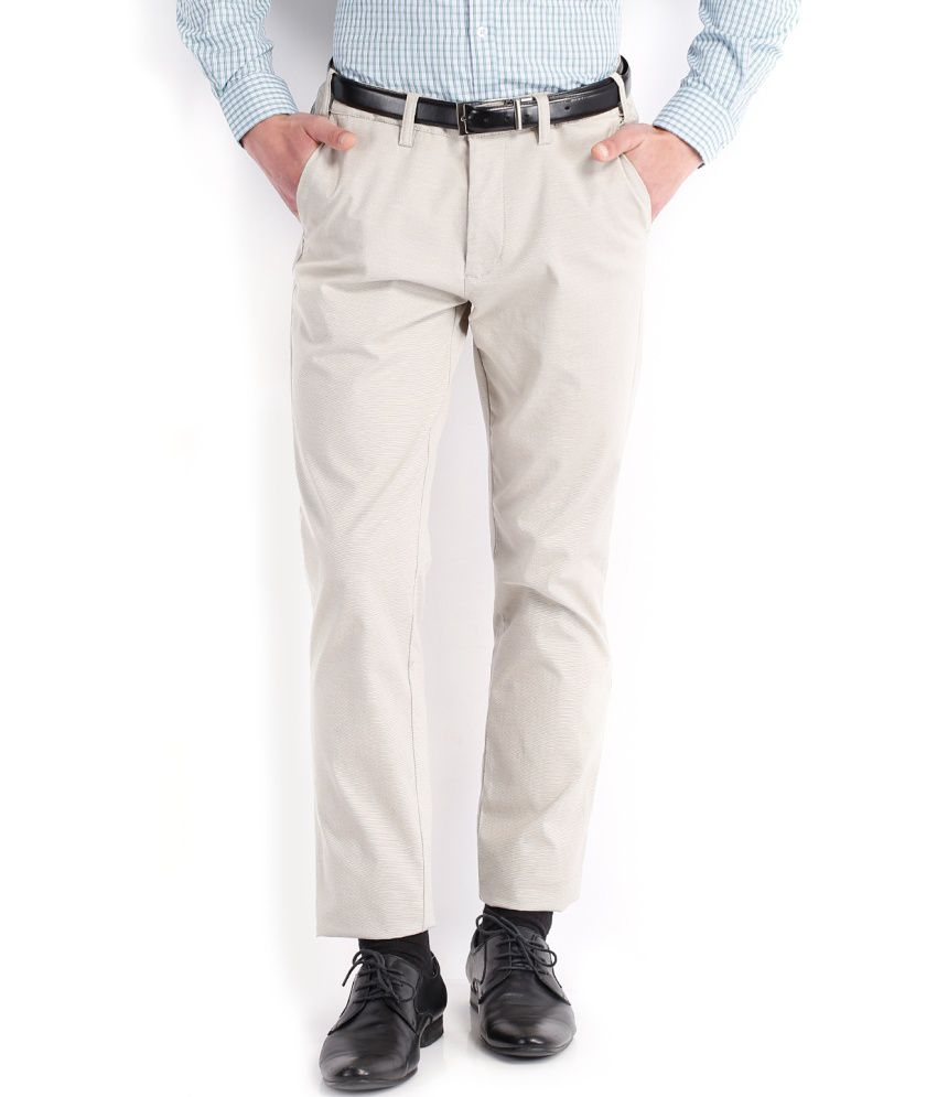 Highlander White Cotton Lycra Casual Trouser