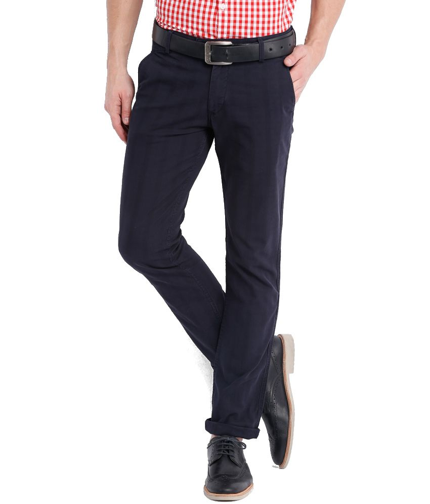 Locomotive Blue Cotton Casual Trouser