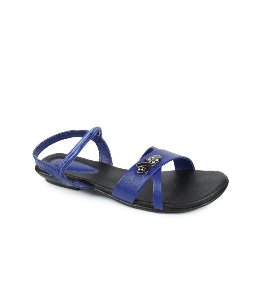 Series Blue Faux Leather Open Toe Flat