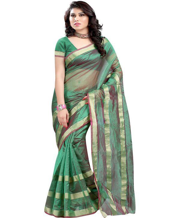 Harsh Fashions Green Meghalaya Silk Saree