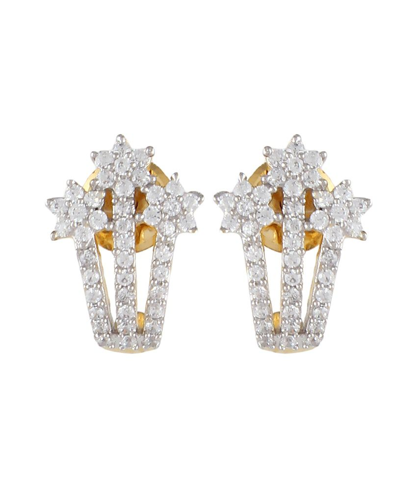 Affinity Just Like Diamonds Gold American Diamond Designer Earrings