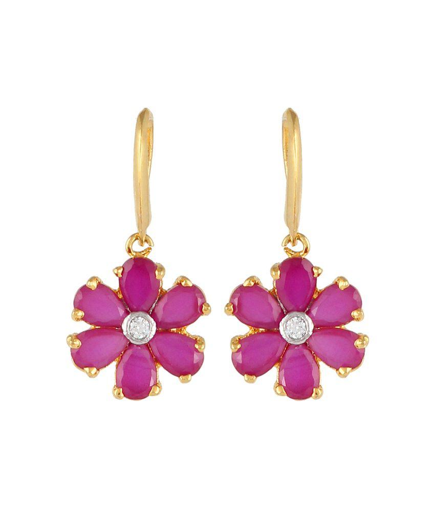 Affinity Just Like Diamonds Red American Diamond Designer Earrings