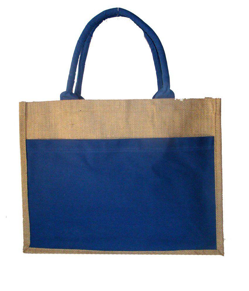 Foonty Blue Jute Tote Bag