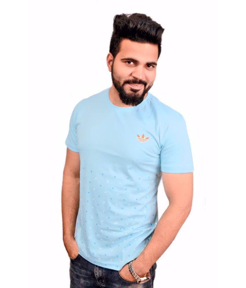 Adidas Blue Cotton Printed T-Shirt