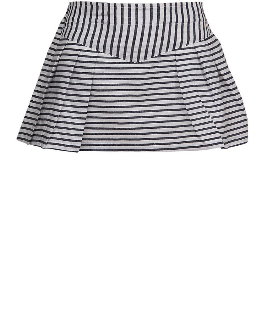 Dreamszone Navy & White Stripes Skirts For Kids