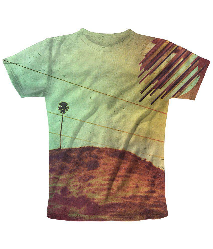 Freecultr Express Multicolour Mountain Top Printed T Shirt