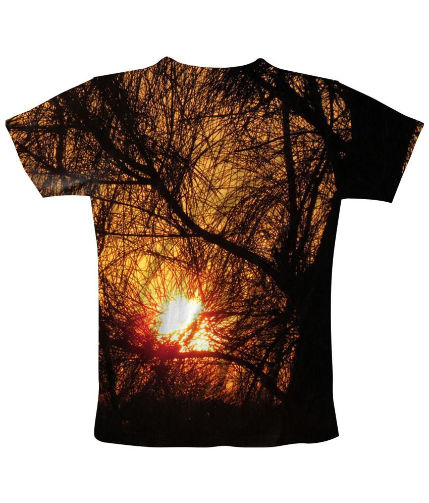 Freecultr Express Orange & Black Branch Printed T Shirt