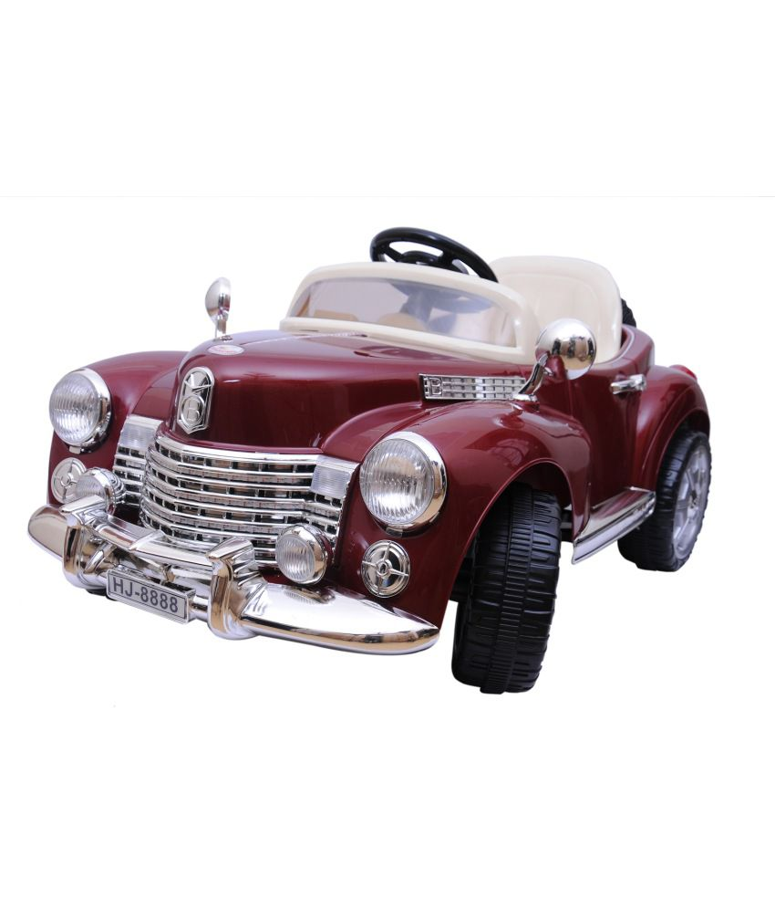 happy kids maroon vintage ride on car with remote control