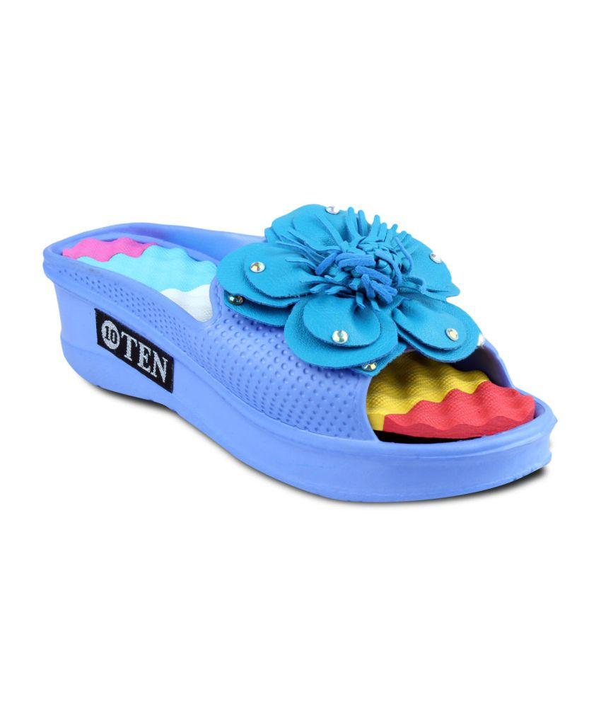 Ten Blue Floral Blue Flipflops For Women