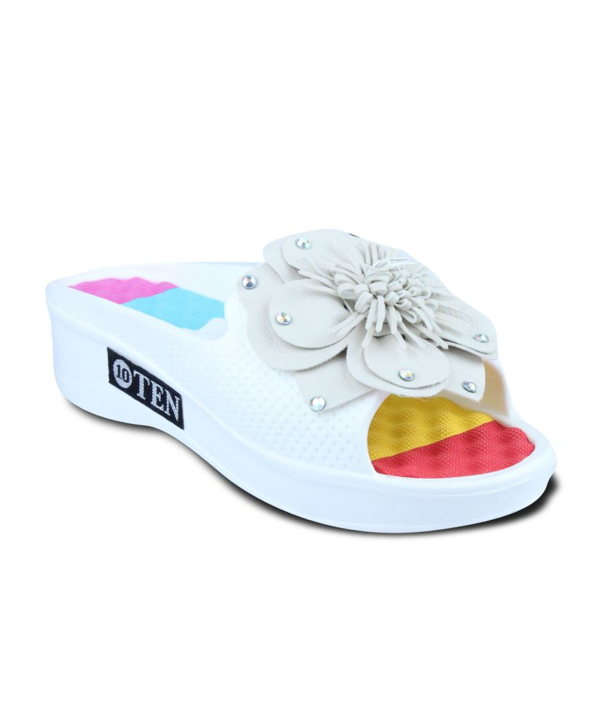 Ten White Floral Flipflops For Women