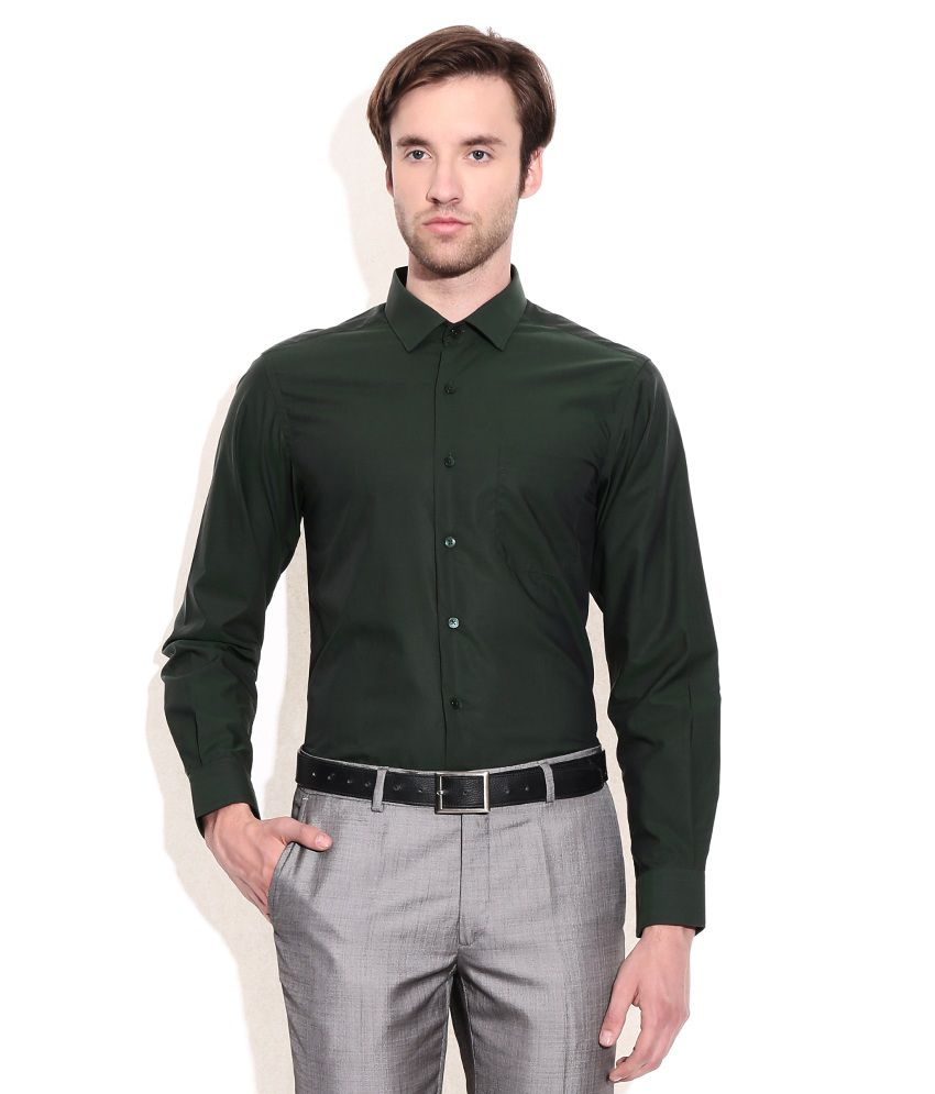 Wills lifestyle green slim fit formal shirt buy wills for Trim fit tuxedo shirt