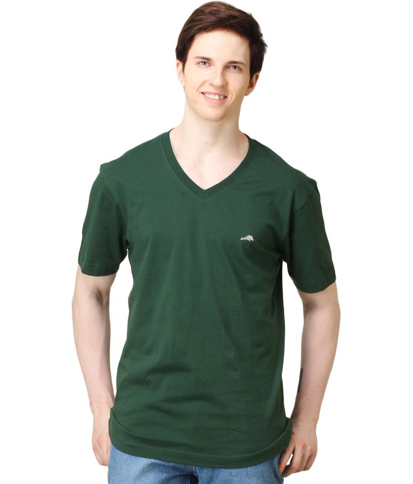 2GO Green Cotton Half Sleeves V-Neck T Shirt