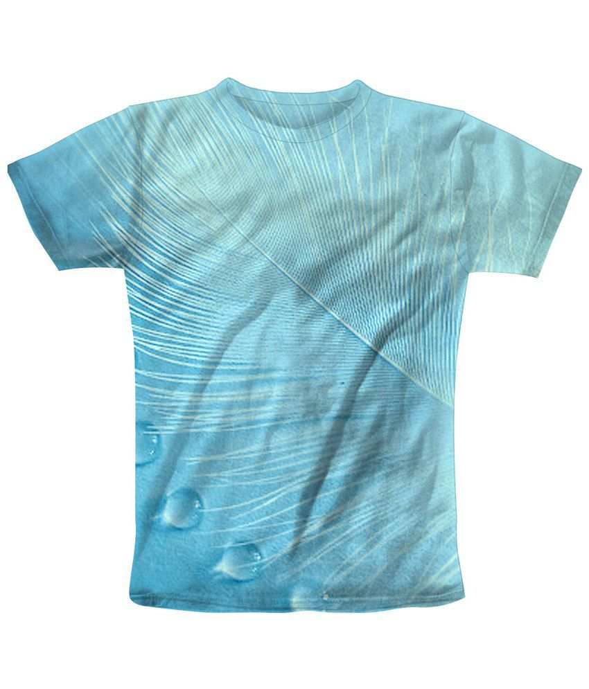 Freecultr Express Blue Feather Drop Graphic T Shirt