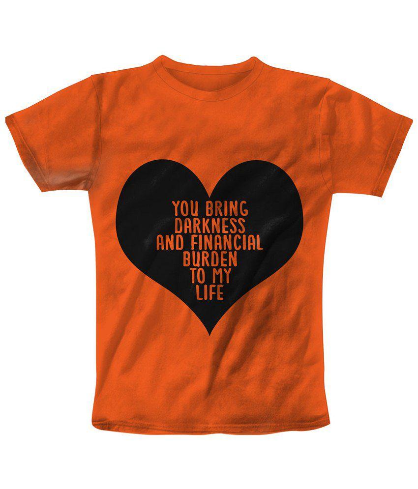 Freecultr Express Orange & Black Financial Burden Printed T Shirt