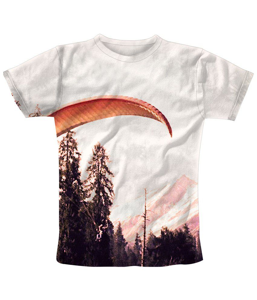 Freecultr Express White & Brown Chute Printed T Shirt