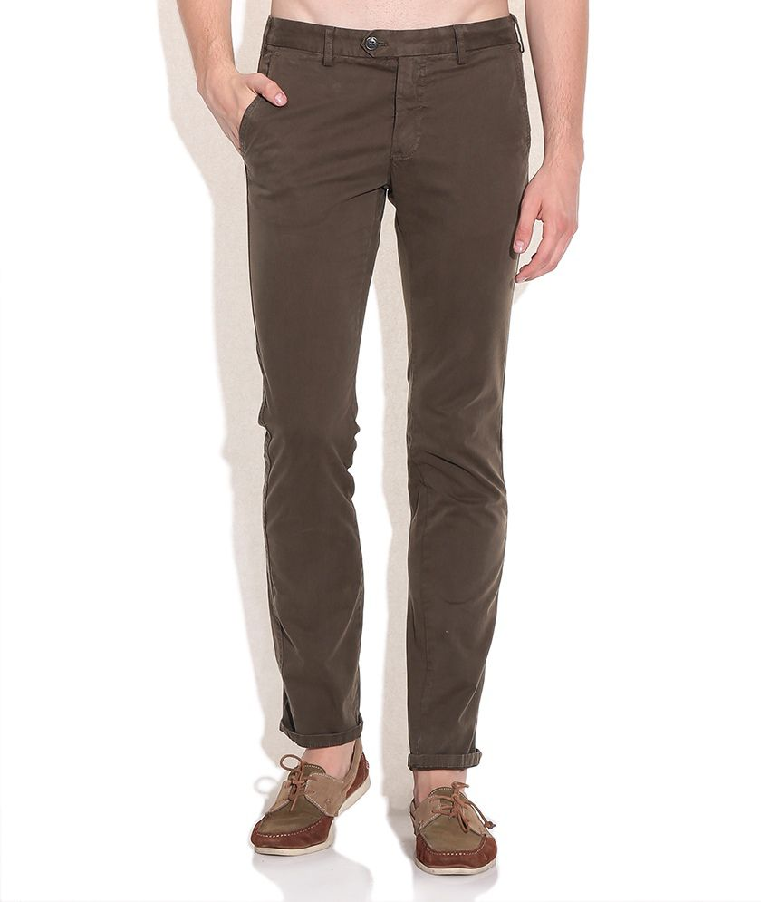 Indian Terrain Olive Brooklyn Fit Casual Trousers