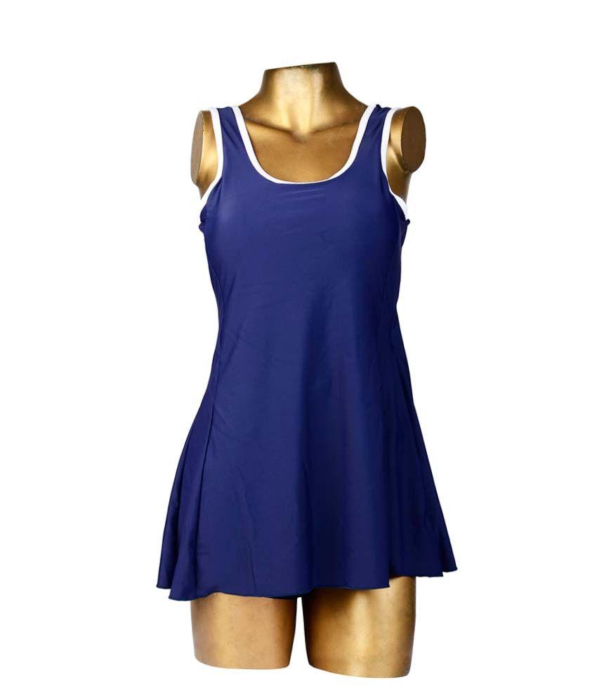 Indraprastha Navy Blue With White Sleeve Border Swimsuit/ Swimming Costume