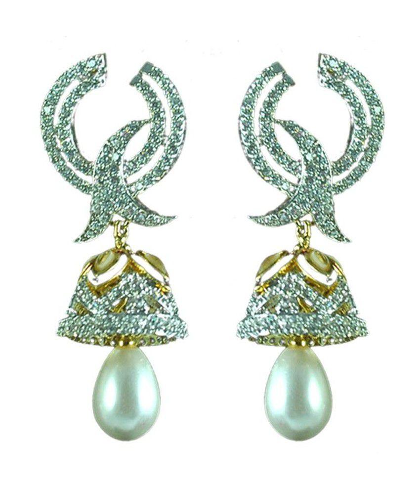 Swanvi Antique Alloy American Diamonds Push back Earring