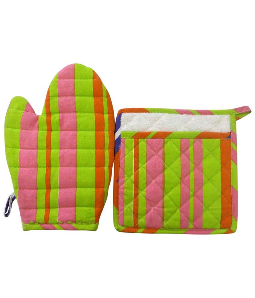 Living Cocoon Multicolor Stripes Mitton and Pot Holder