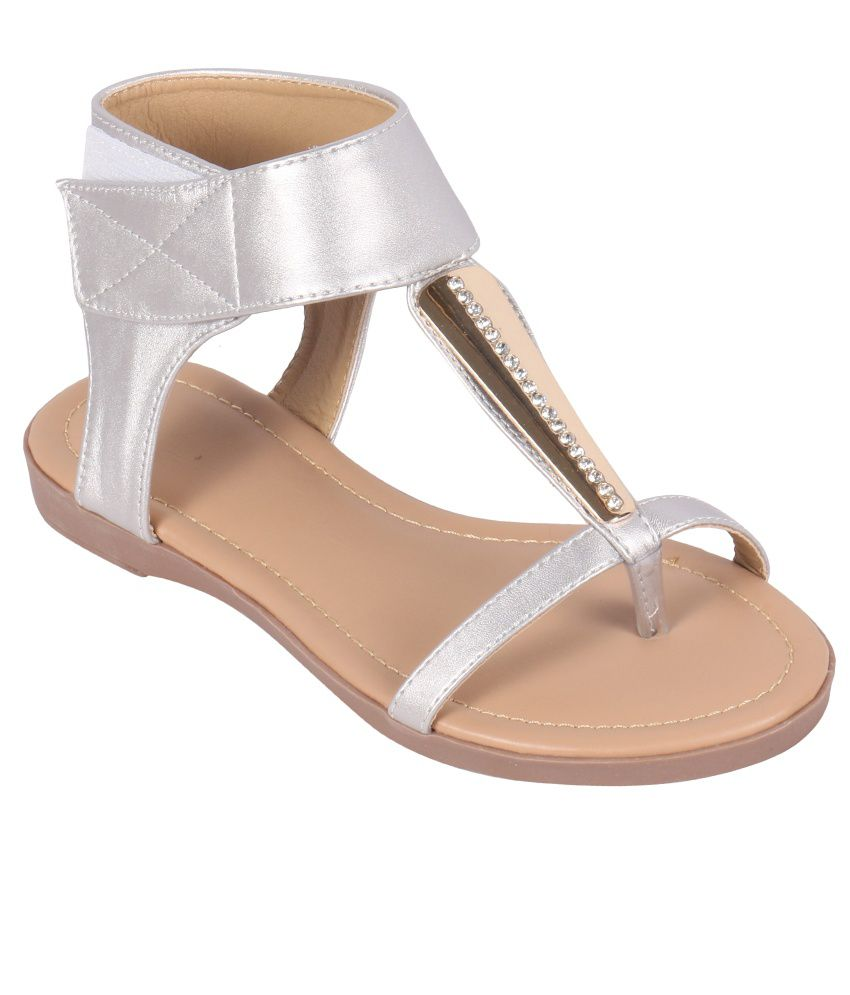 Rialto Silver Low Heel Round Toe Sandals