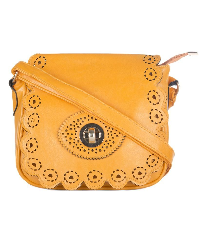 Carry On Handbags Mustard Non Leather Sling Bags