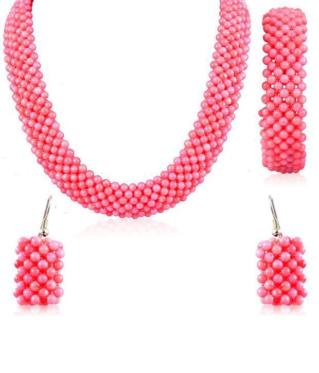 Swanvi Multicolour Contemporary Alloy Antique Dailywear Peach Bling Necklace Set