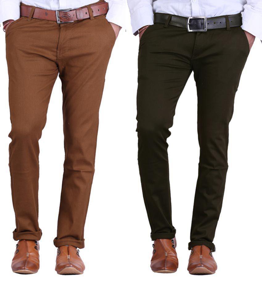 Haltung Lightbrown & Mehendi  Cotton Blend Trousers