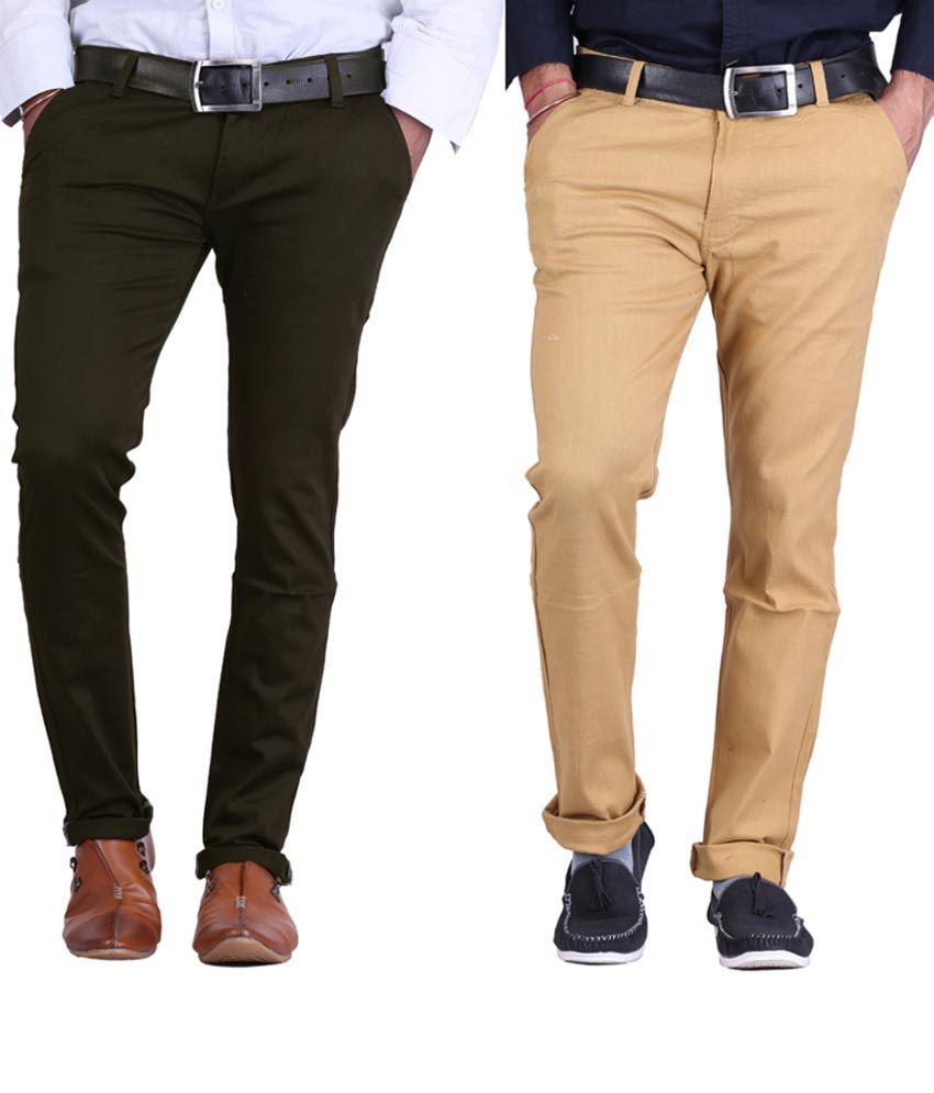 Haltung Mehendi & Darkbeige Cotton Blend Trousers