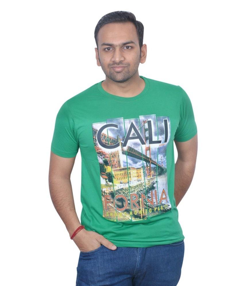 Naysa Green Cotton Blend Round Neck T-Shirt