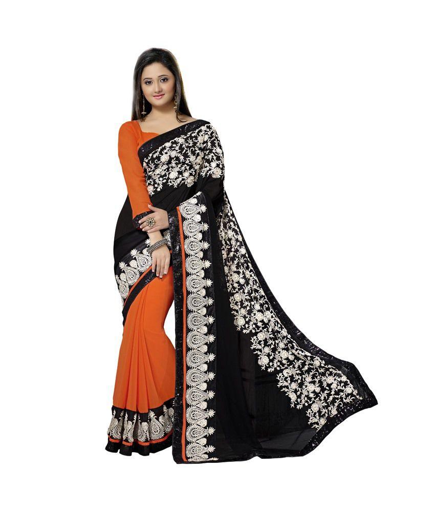 Surbhi Collection Black Faux Georgette Saree