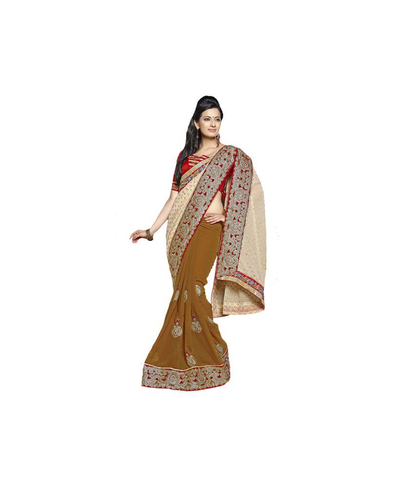 Surbhi Collection Brown Faux Chiffon Saree