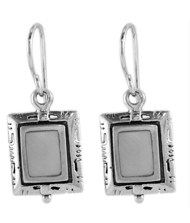 925 Silver Square Shaped White Dangler Sterling Silver Earrings With Synthetic Stone