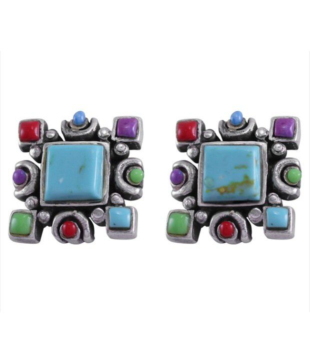 925 Silver Square Shaped Sterling Silver Stud Earrings With Synthetic Stone