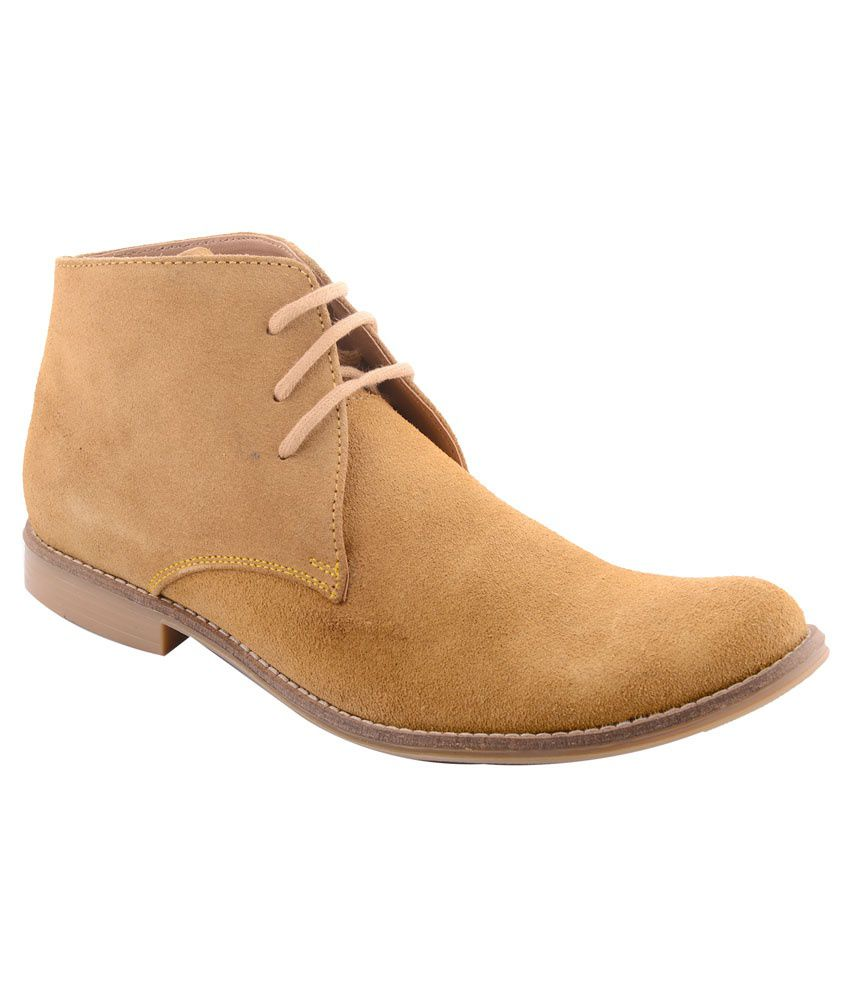99 Moves Men's Suede Leather Tan Boots