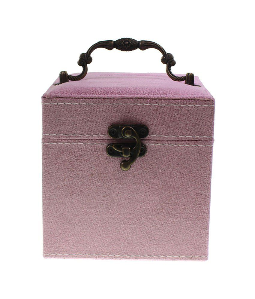 Kurtzy Baby Pink Suede Velvet Jewellery Box With 3 Removable Layers For Earrings, Rings & Necklaces
