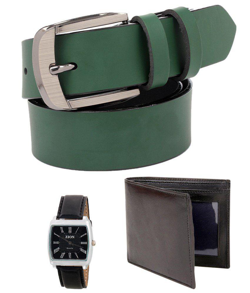 Tryzion Extraordinary Combo Of Belt, Watch & Wallet For Men