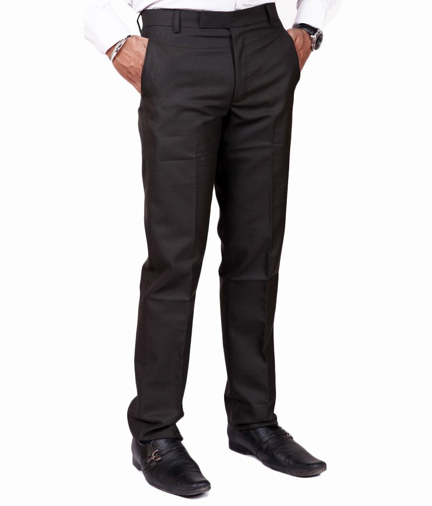 American-Elm Black Poly Viscose Formal Trouser