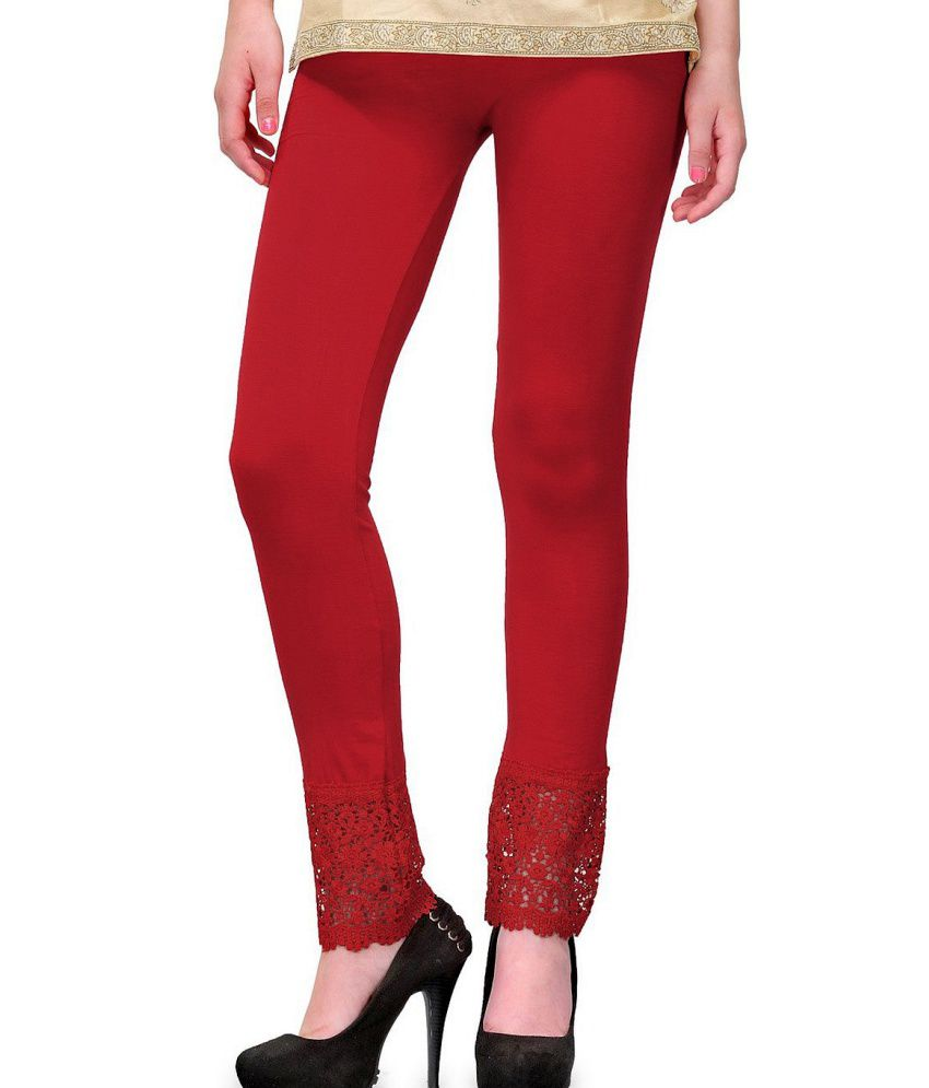 Esszee Maroon lace plazzo leggings(Cotton Lycra 4-way Stretchable)