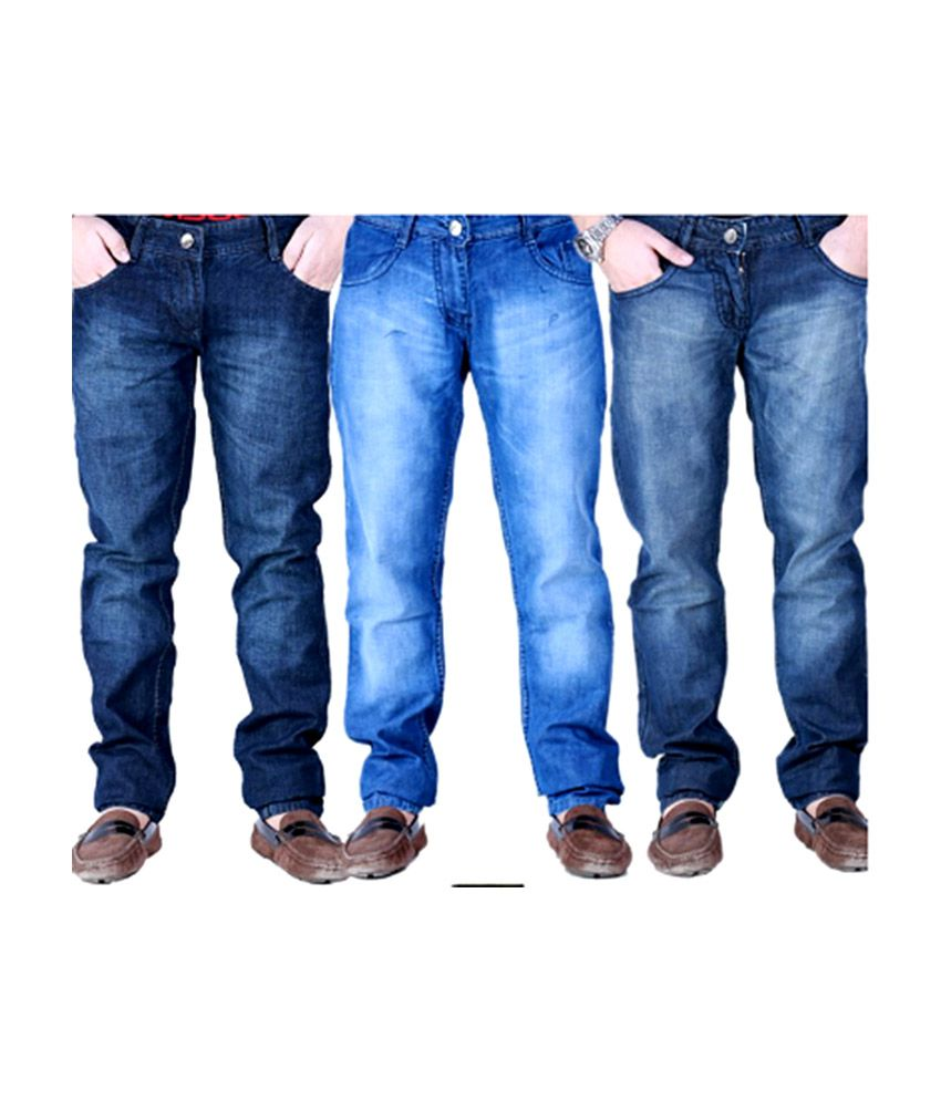 Friends Like You Blue Cotton Blend Regular Fit Jeans for Men - Pack of 3