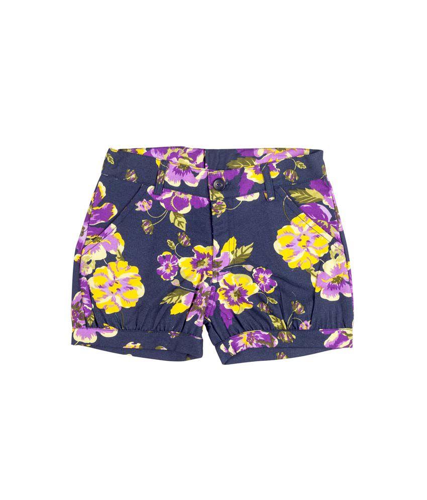 Hunny Bunny Purple Denim Printed Elastic Shorts