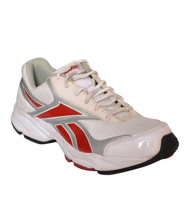 Reebok White Mesh/Textile Sport Shoes