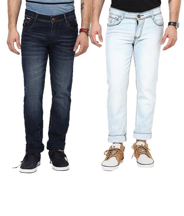 Zaab Combo Of Cool Dark Blue & Light Blue Slim Fit Jeans