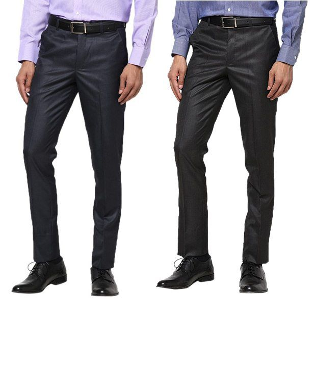Zeco Beige Navy & Black Formal Trousers Pack Of 2