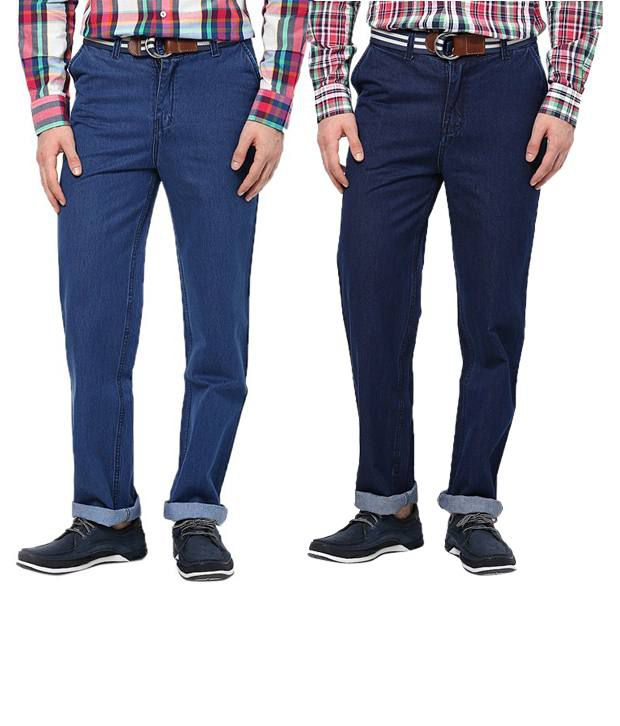 Zeco Combo Of Medium Blue & Navy Blue Regular Fit Jeans