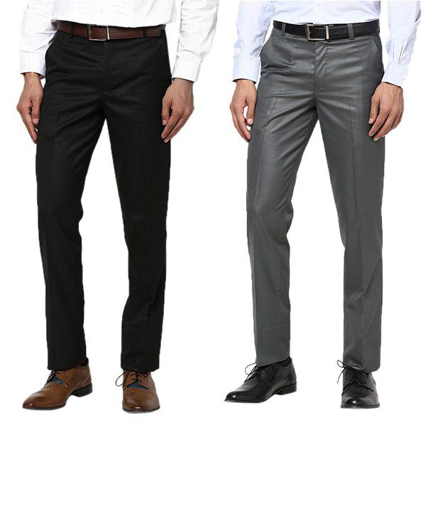 Zeco Fantastic Black & Gray Formal Trousers Pack Of 2