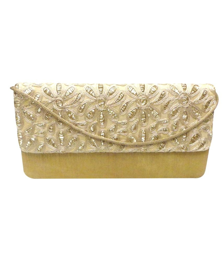 Bhamini Raw Silk Box Clutch With Golden Floral Thread Work On Flap - Gold