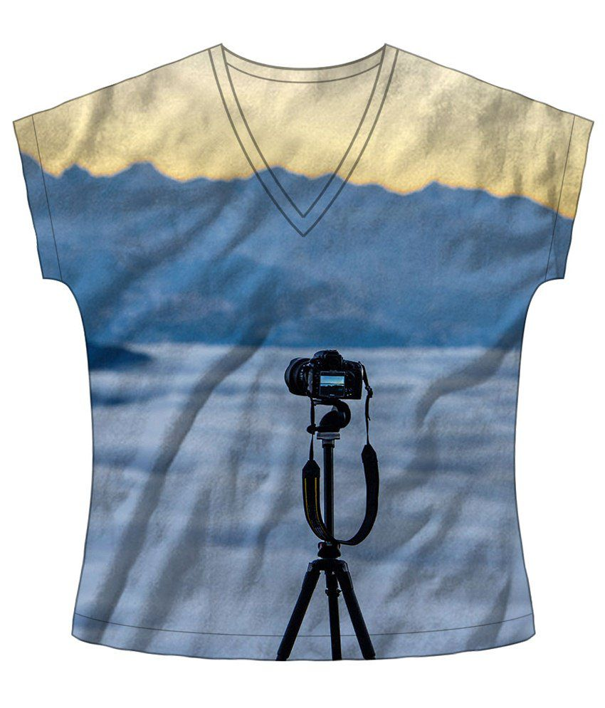 Freecultr Express Blue & Beige Away Boat Neck Printed T Shirt