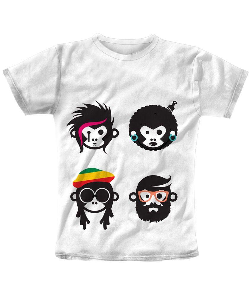 Freecultr Express Nice Looking White & Black Monkey Printed T Shirt